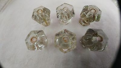 6 glass knobs for drawer or door pulls hardware approximately 1 5/8""