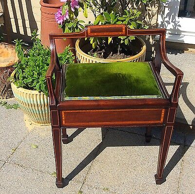 Original Victorian / Edwardian Piano Stool Inlaid Inc all Sheet Music 1878 Etc