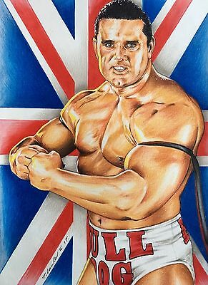 The British Bulldog Original Pencil Drawing . Fan-art A4 Davey Boy Smith WWF WWE