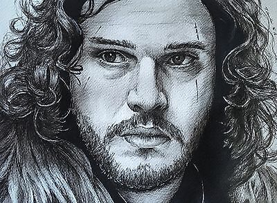 Jon Snow Original pen Drawing / Painting .Fan-ART A4 .Game Of Thrones