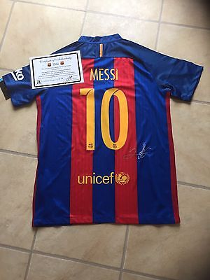 Barcelona Home Shirt Signed By Messi With Certificate From 2016 2017 Season