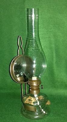 Vintage glass oil lamp with reflector