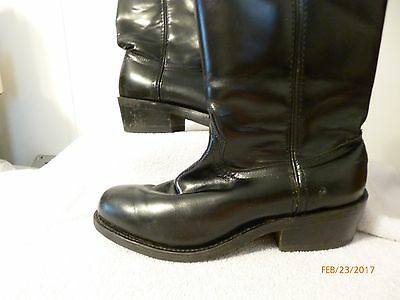 RoadWolf pull on leather boots for men euc size 7.5W black