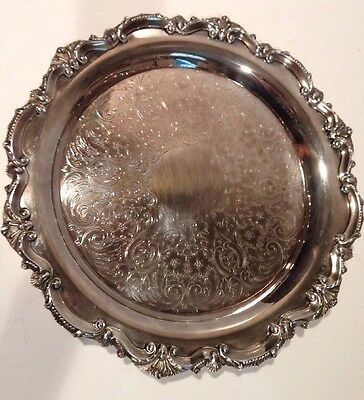 """VTG EPCA Old English Silverplate  Poole Large Footed Pie Serving Tray 11"""" ORNATE"""