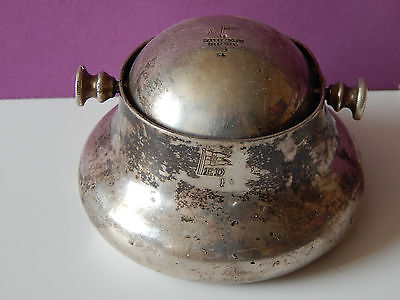 Vintage Silver Plate Walker & Hall Heavy Ship Boat Ashtray? Old Revolving Lid