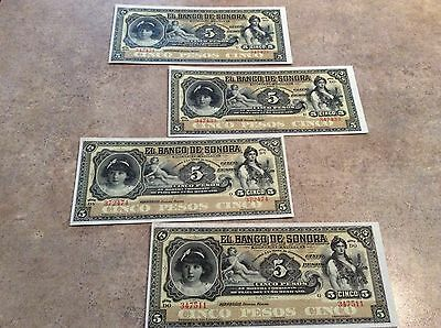 Lot of Four El Banco De Sonora Cinco 5 Pesos Mexican Banknote CRISP