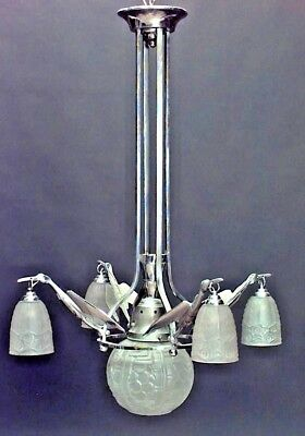 French Art Deco Chrome Chandelier