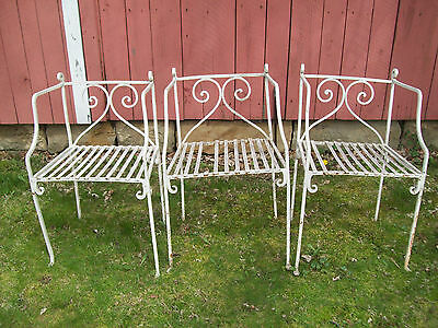 3-Vtg  Antique Wrought Iron Garden Classic Style White Metal Shabby Chairs
