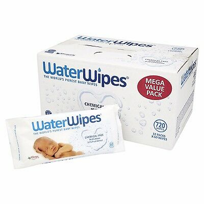 WaterWipes Chemical Free Baby Wipes 12 Pack x 60 Wipes (720 Wipes) BRAND NEW