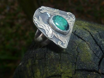 i HAND WROUGHT COIN SILVER AUTHENTIC ~FRED HARVEY~ RING..CERRILLOS TURQ.C.1920'S