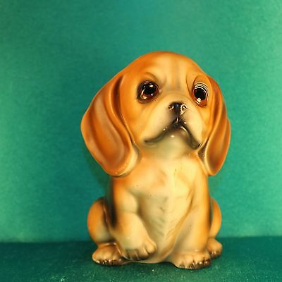 "Vintage BEAGLE Puppy Planter 5.5"" Figural Dog Figure 1950s Ceramic or Pottery"