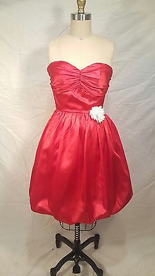 Vintage red prom party dress strapless bubble skirt s small