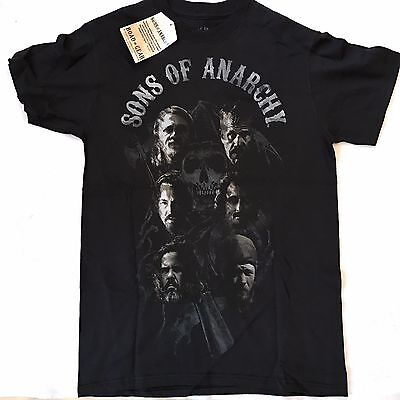Men's T-Shirt Black Sons of Anarchy Faces Jax Opie Short Sleeve NWT Small