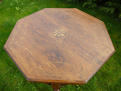 Antique Edwardian Beautifull Inlaid Rosewood Octagonal Occasional Table