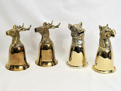 4 Vintage Gucci Silver Gold Plated Stirrup Cups Italy 1970s Elk Horse Boar