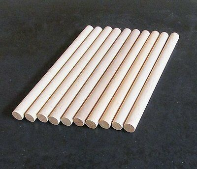 10 x Wooden Dowels, Craft Sticks 10mm thick, 10cm long