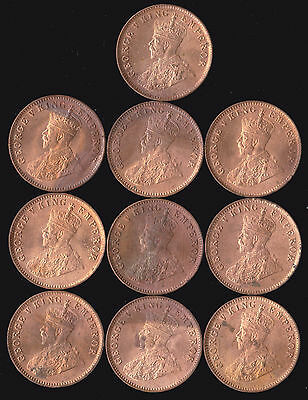 India, British- Lot of 10 1912 1/4 Anna Coins KGV George V UNC BU RED Cleaned