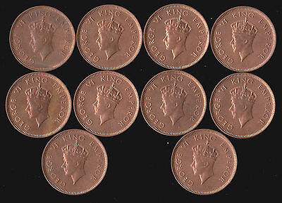 India, British- Lot of 10 1939 1/4 Anna Coins KGVI George VI UNC BU RED Cleaned