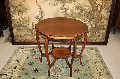 Beautiful Antique English Walnut Round Occasional Side Table .
