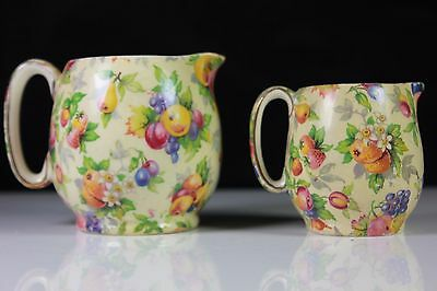 Art Deco Royal Winton Chintz Evesham Pattern Pair Jugs C.1950'S