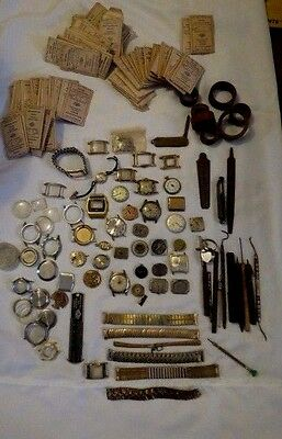 Vintage Antique Watchmaker Lot Watch Parts Repair Tools Bands from Jeweler