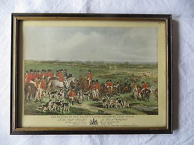 Vintage Hunting Print  'The Meeting of Her Majesty's Stag Hounds on Ascot Heath'