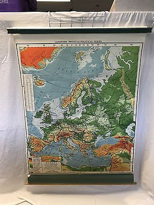 Vintage 1950's  A.J. Nystrom School retractable Pull Down Map Of Europe