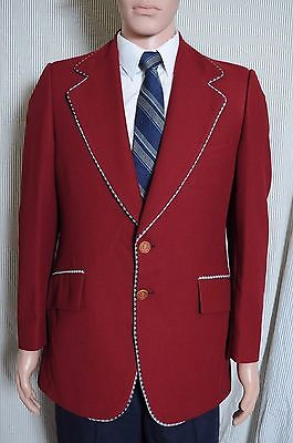 Vintage 70s Men's Red JC Penney polyester sports coat blazer 41