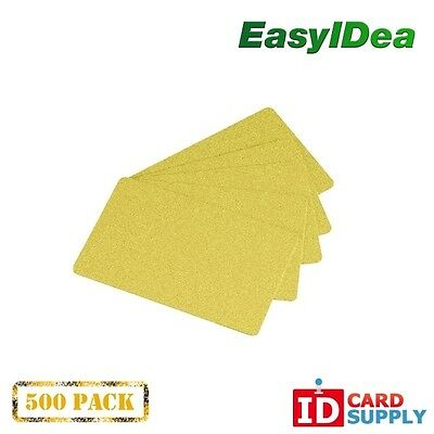 Pack of 500 Premium Yellow Gold CR80 Standard Size PVC Cards | 30 mil Thickness