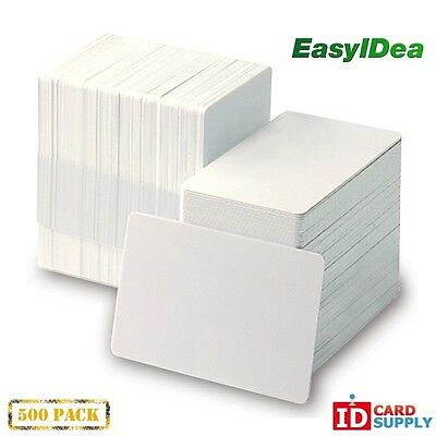 QTY: 500 | White CR80 Standard Size PVC Cards | 20 mil Thickness by easyIDea