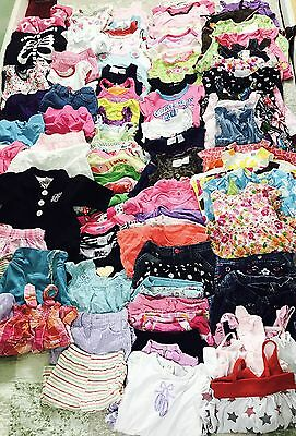 HUGE LOT INFANT BABY Girl USED CLOTHES 143 PIECES 0M - 3M,6M -9 M, 6-12 M