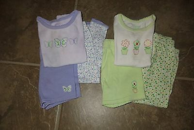 Carter's 2 Baby Girls 3 Piece Pajama Sets Purple Green Floral Size 12 Mo Euc!