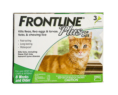 Frontline Plus Flea & tick for Cats & Kittens Up to 8 Wks & Older 3 Pack Genuine