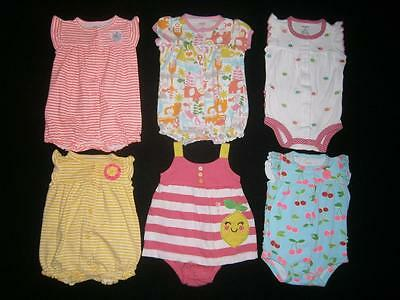 Baby Girls Size 3 Months ** CARTER'S **  SHORT ROMPER OUTFITS LOT Spring Summer