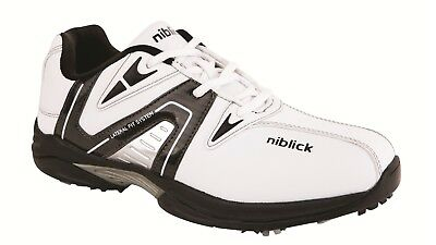 Niblick Beaumont Men's Golf Shoes w/ PU Upper - White/Black, Size 9.5