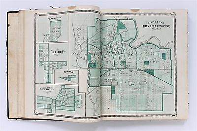 1876 Indiana Atlas Complete Maps Illustrated Historical State ORIGINAL 90 MAPS