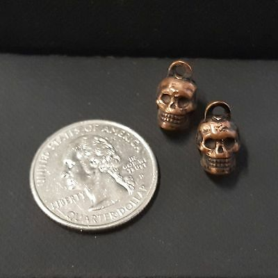 Lot of 2 vintage Tiny SKULL metal-clad gumball CHARMS not-cracker-jack FREE SHIP