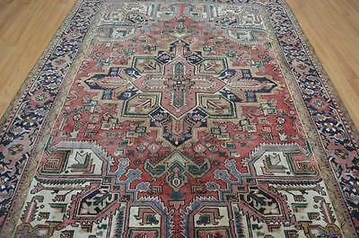 6'9x9'5 Amazing Fine Authentic Antique Persian Heriz Hand Knotted Wool Area Rug