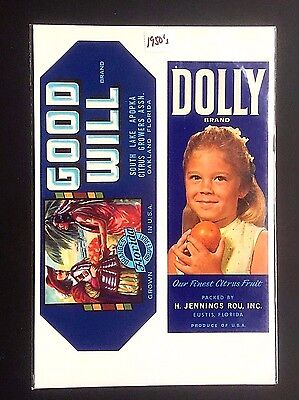 2 1950's Produce Crate Labels DOLLY Brand and GOOD WILL Brand...NOS