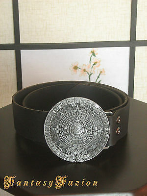 Leather Belt with Aztec Calendar Engraved Buckle