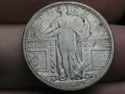 1917 D Silver Standing Liberty Quarter, Fine/VF Details, Type 1, Counterstamped