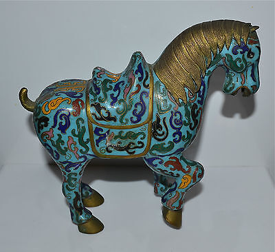 Small Antique Chinese Cloisonne Enamel Horse Figure