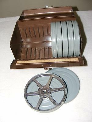 """8mm Film Ambassador Case and 6 Empty 5"""" Reels and Canisters"""