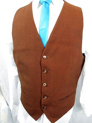 """Vintage 60s 70's Rust Brown Waistcoat Silky Back Formal Mod Steampunk 40"""" Chest"""