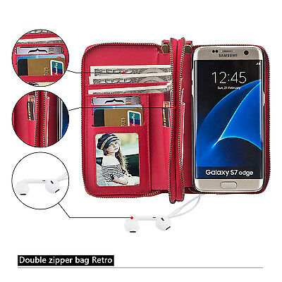 Real Leather Removable Wallet Magnetic Card Case For Samsung Galaxy S7 Edge Red