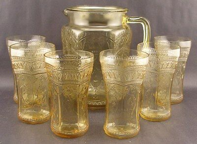 6 Depression Federal Glass Patrician Spoke 14oz Amber Tumblers And Pitcher