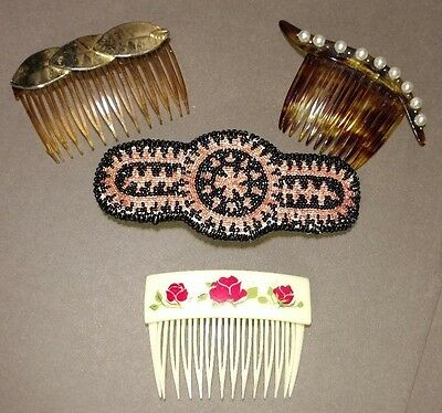 Lot of Vintage Hair Combs Accessories - One Beaded Leather Clip Barrette