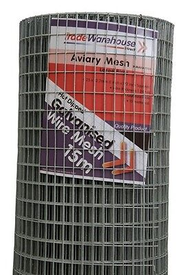 Aviary & Cage Wire Mesh 1200mm 12.5 x 25mm squares x 15m Roll 1.24 wire gauge HE