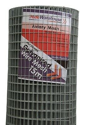 Aviary & Cage Wire Mesh -Heavy Duty-1200mm 25 x 12.5mm squares - 15m Roll