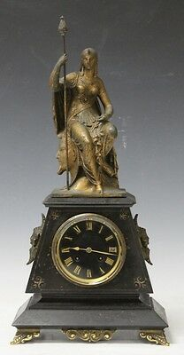 VICTORIAN MARBLE FIGURAL MANTLE CLOCK Lot 6110